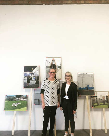 Caroline Phillips (left) with art historian Louise Mayhew // there's something happening here… extended remix (2018) // Photograph courtesy of Boxcopy