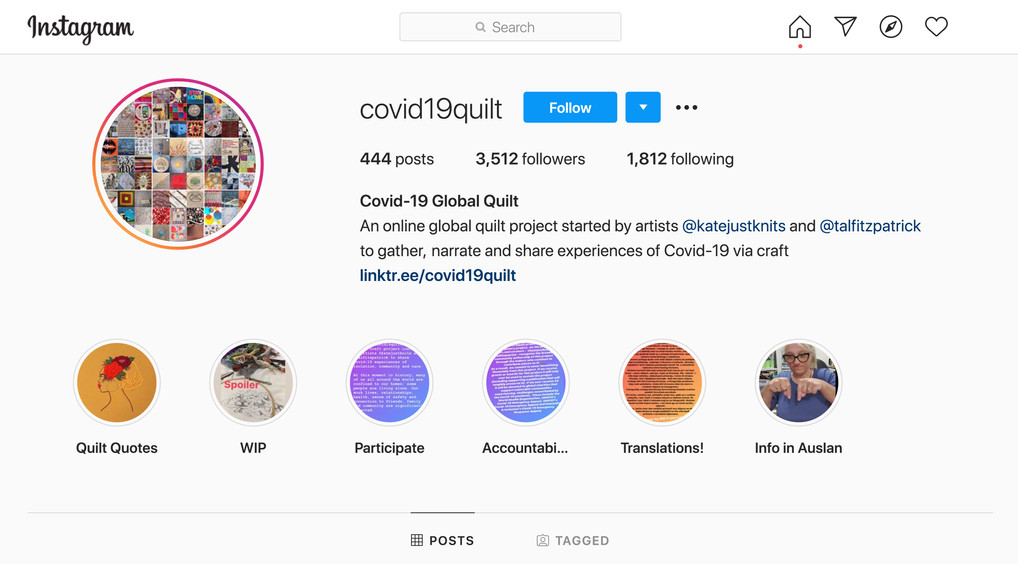 Join the online Quilt Project on Instagram @covid19quilt