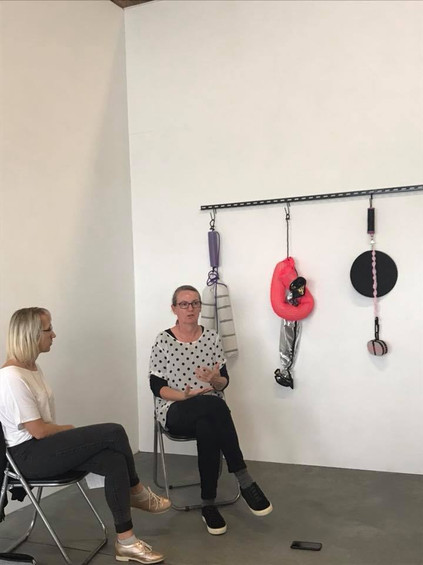 In Conversation: Caroline Phillips (right) and art historian Louise Mayhew // there's something happening here… extended remix (2018) // Photograph courtesy of Boxcopy