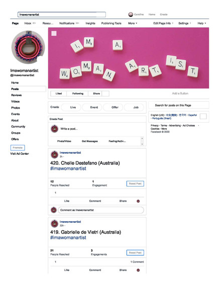 #imawomanartist // Durational social media art project // On Facebook (2019–2020)