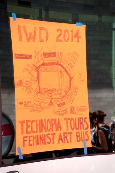 THE f WORD public program // Technopia Tours Feminist Art Bus 2014 // Poster by Kim Donaldson