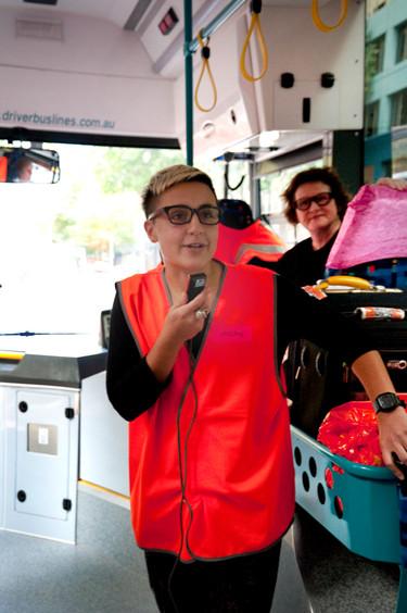 THE f WORD public program // Technopia Tours Feminist Art Bus 2014 // Justine Makdessi // Photograph by Kate Robertson