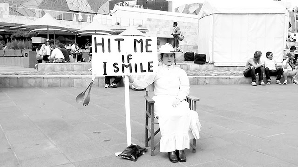 A Dinner Party: Setting theTable // 'Hit Me If I Smile' (2010), performance by Inez de Vega // Federation Square, Melbourne