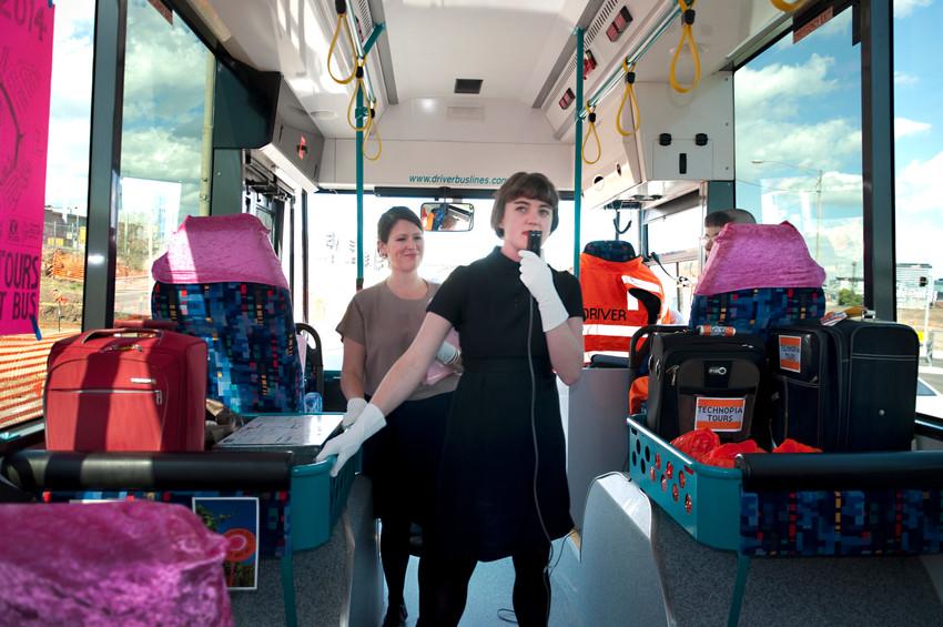 THE f WORD public program // Technopia Tours Feminist Art Bus 2014 // Ebony Gulliver and Kalinda Vary // Photograph by Kate Robertson