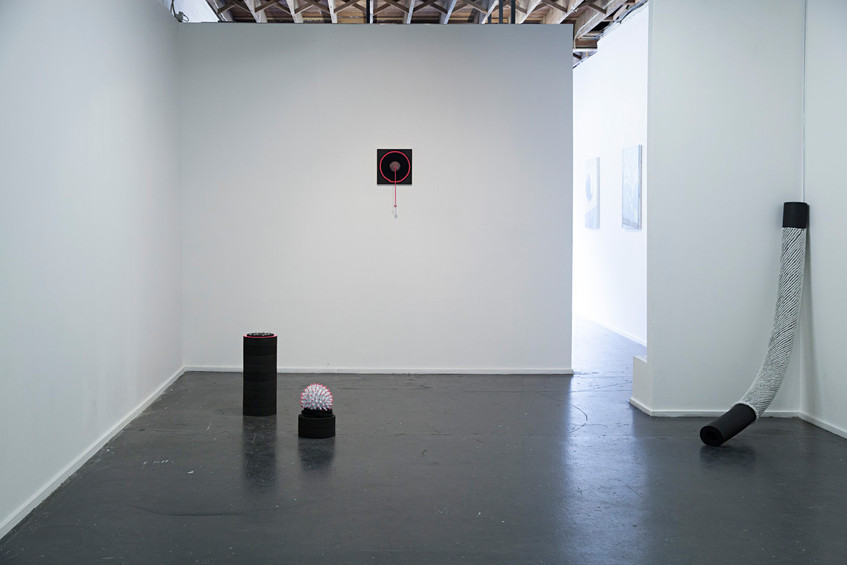 From left: Artworks by Caroline Phillips (floor works) and Karryn Argus (wall work) // BOOB: Biased Objects Objective Bodies