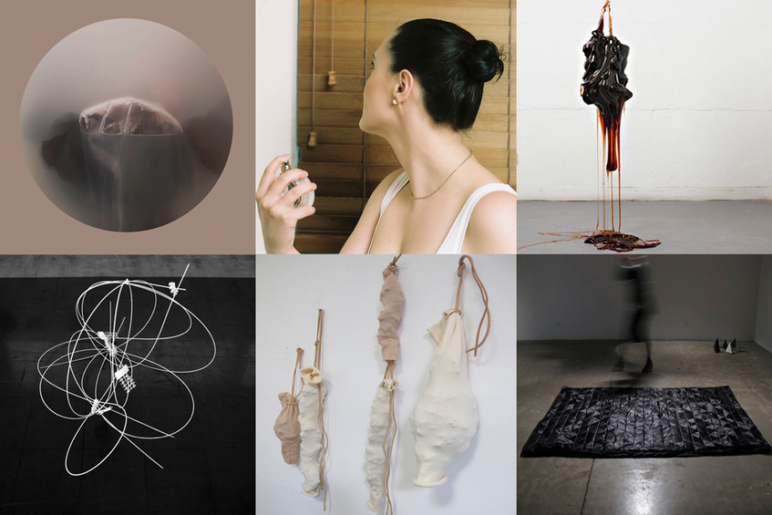 Clockwise from top left: artwork by Leela Schauble, Todd Anderson-Kunert, Skye Kelly, Adele Macer, Caroline Phillips, and Naomi Troski // Images courtesy of the artists