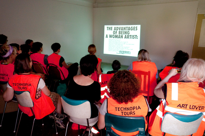 THE f WORD public program // Technopia Tours Feminist Art Bus 2014 // Talk by Elvis Richardson at Techno Park Studios, Williamstown // Photograph by Kate Robertson