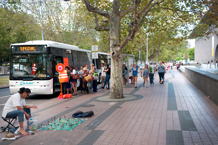 THE f WORD public program // Technopia Tours Feminist Art Bus 2014 // 'All aboard' at St Kilda Road // Photograph by Kate Robertson