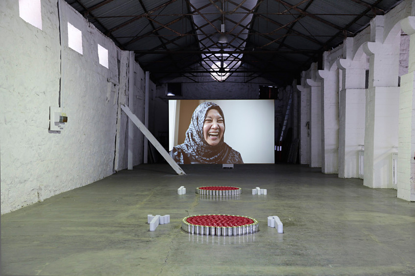 Cathy Johnstone installation view including video 'Conversations Outside the Frame' (2014)