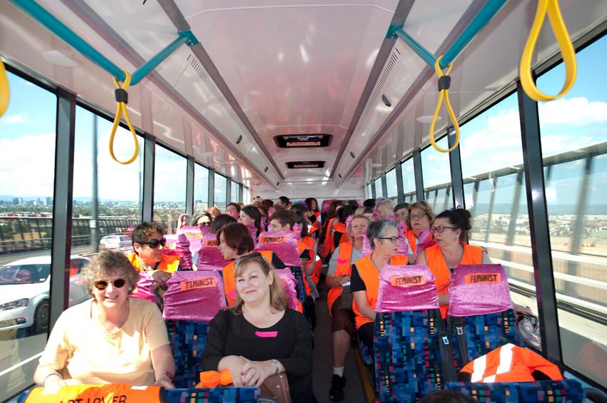 THE f WORD public program // Technopia Tours Feminist Art Bus 2014 // Crossing the Westgate Bridge // Photograph by Kate Robertson