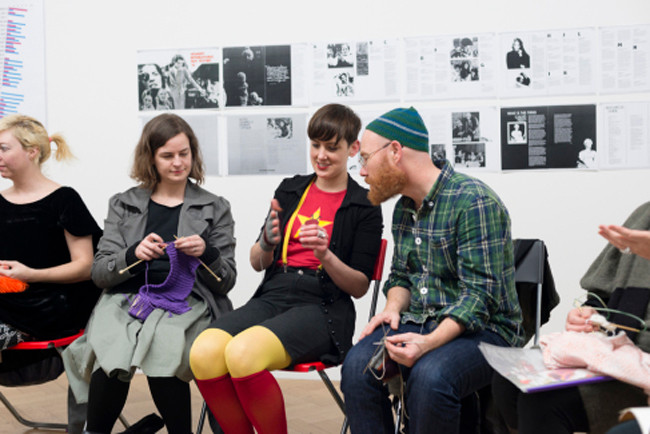 A Dinner Party: Setting theTable // 'Knitting Circle' with Kate Just (centre) // Photograph by Catherine Evans