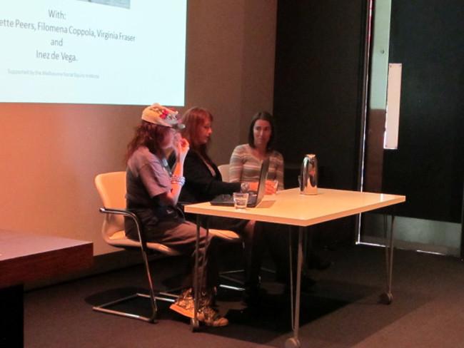 THE f WORD public program // The Regional Feminist ArtForum // From left: panel discussion with Juliette Peers, Virginia Fraser and Filomena Coppola