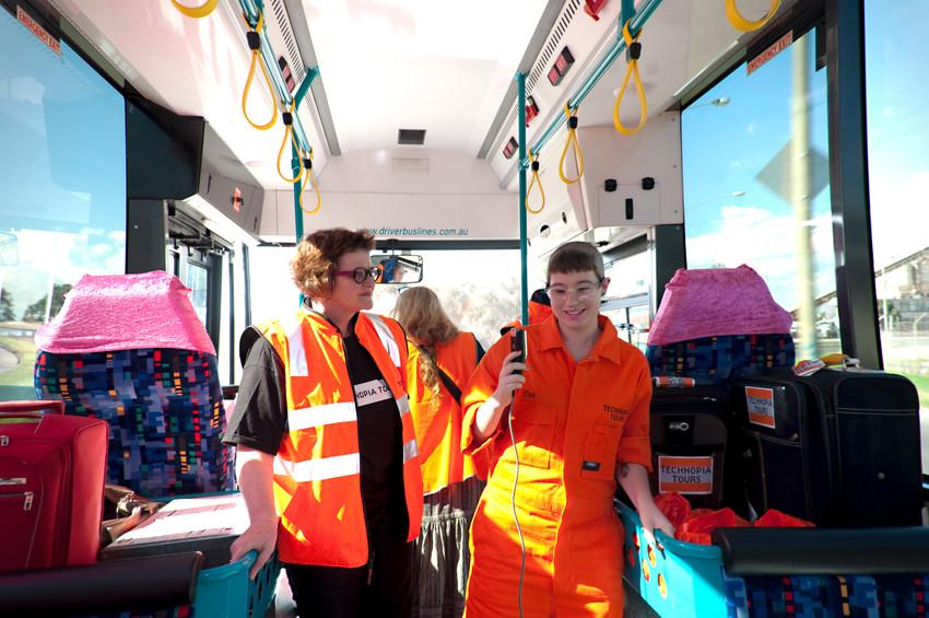 THE f WORD public program // Technopia Tours: Feminist Art Bus 2014 // Dot Kett with Kim Donaldson // Photograph by Kate Robertson