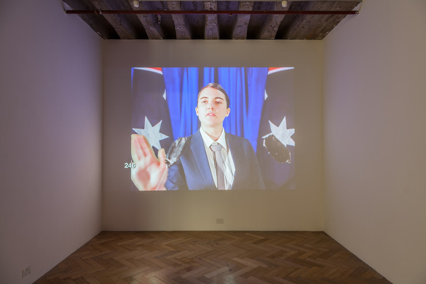 AS IF: Echoes of the Women's Art Register // West Space, Melbourne // Installation view and projection view of 'Victory Speech' (2013) by Kalinda Vary // Photograph by Christo Crocker, courtesy of West Space