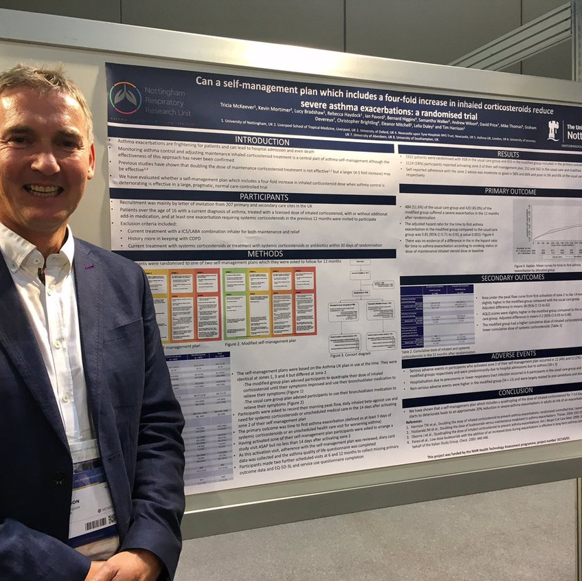 Pof Tim Harrsion Poster presentation on Can a Self -Management Plan Which Includes Four-Fold Increase in Inhaled Corticosteroids Reduce Sever Asthma Exerbation: A Randomised Trial