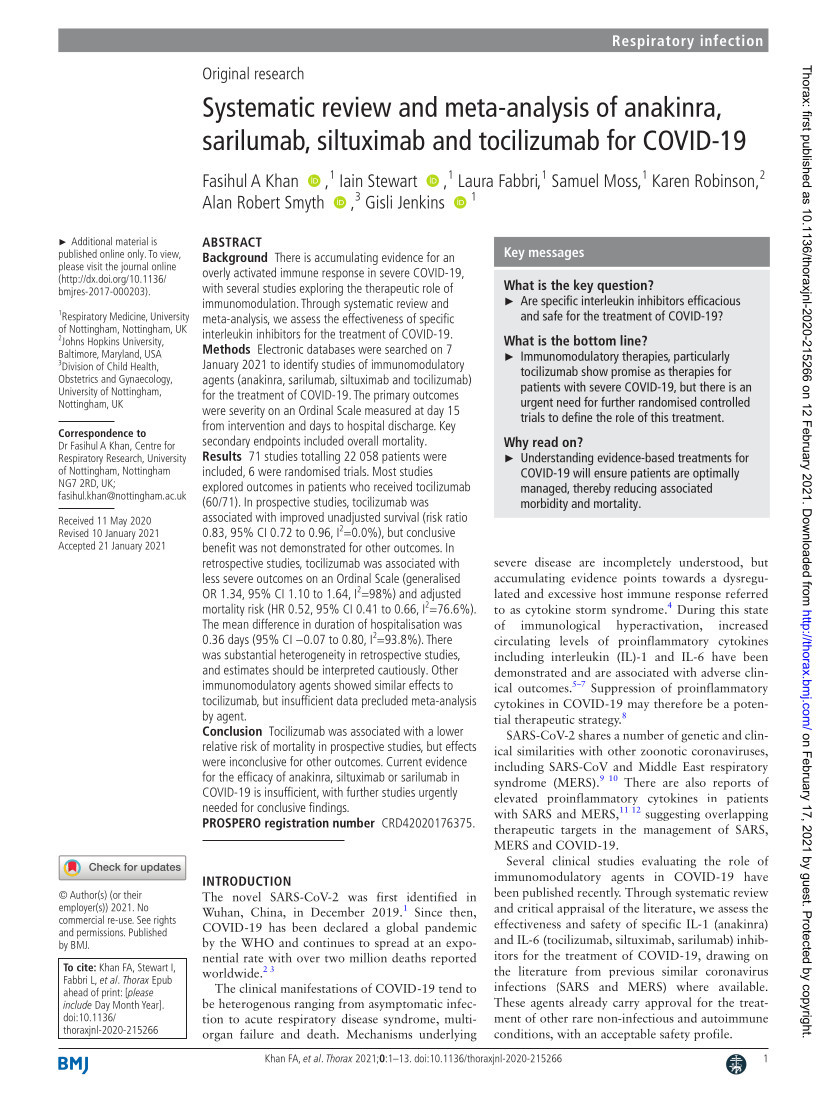 Systematic review and meta-analysis of anakinra, sarilumab, siltuximab and tocilizumab for COVID-19