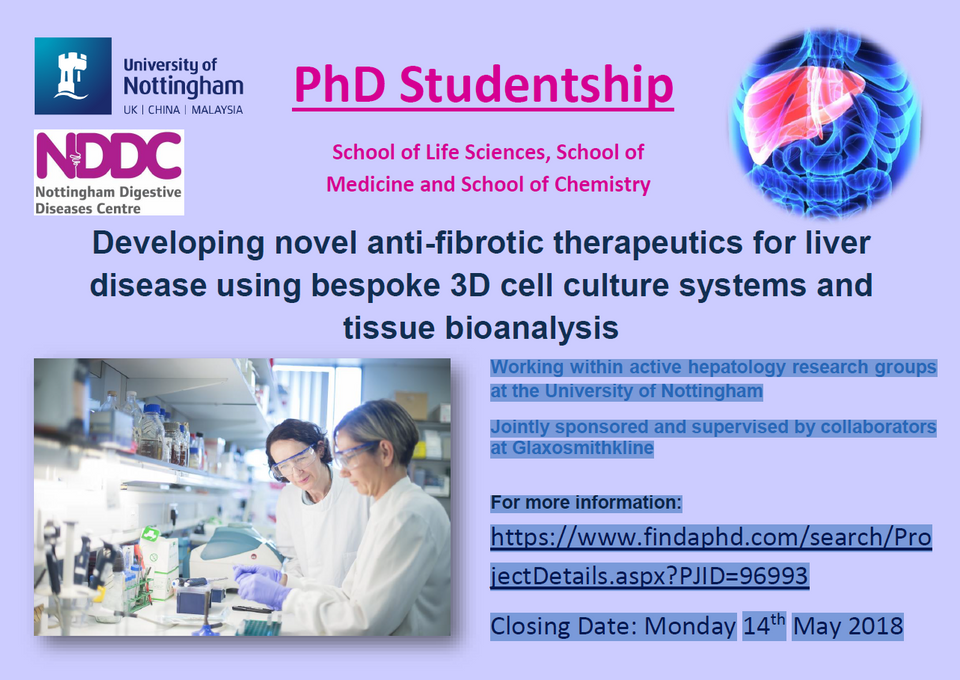 Nottingham BRC PhD Studentship: Developing novel anti-fibrotic therapeutics for liver disease using
