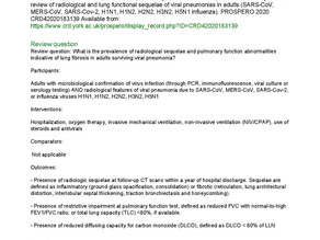 PROSPERO Protocol; radiological and lung functional sequelae of viral pneumonias