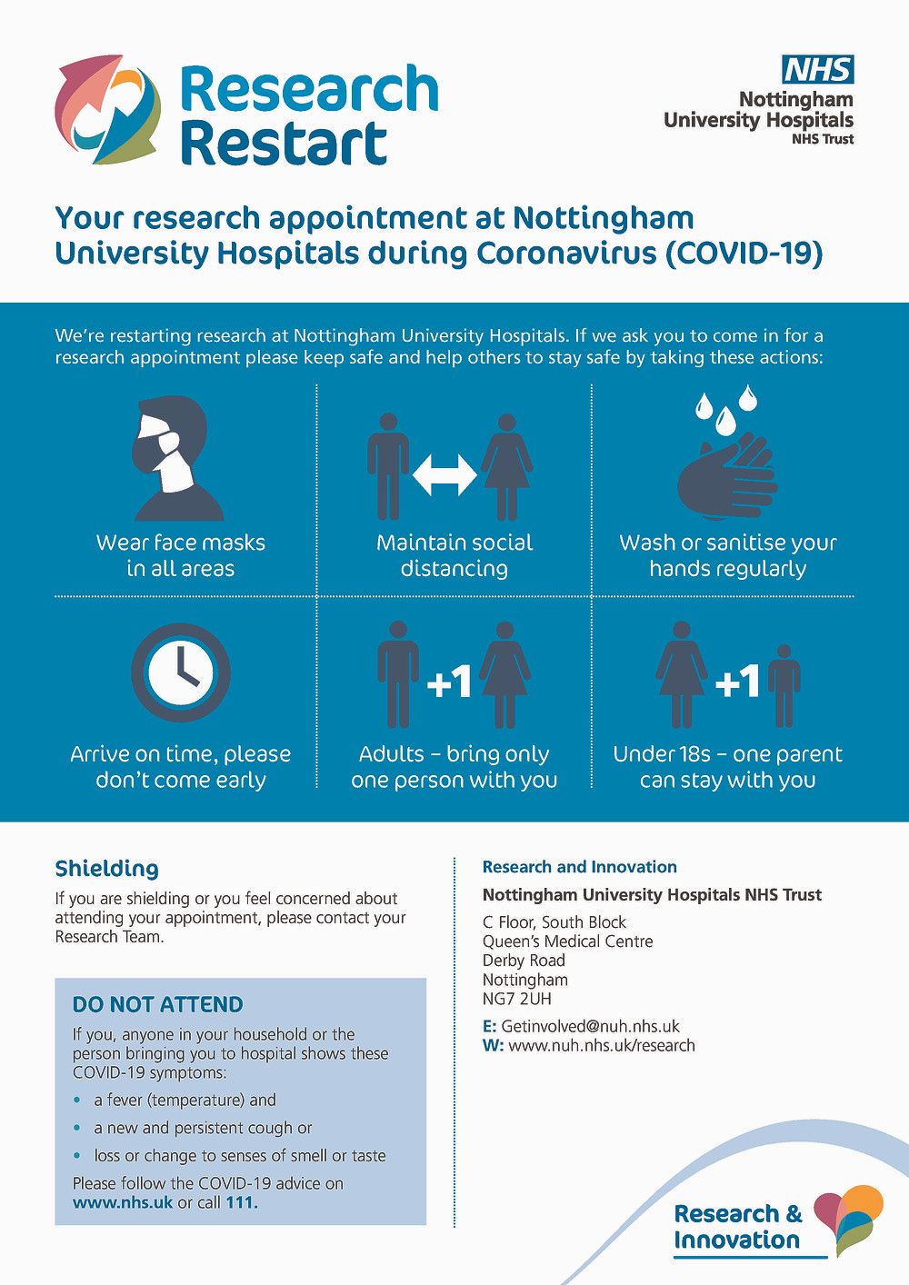 Information on keeping research patients/participants and staff safe during COVID-19