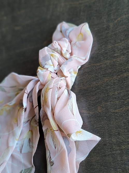 Pink Floral Scrunchies w/Tails