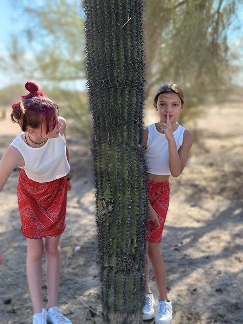 White Crop & Red Scarf Skirt