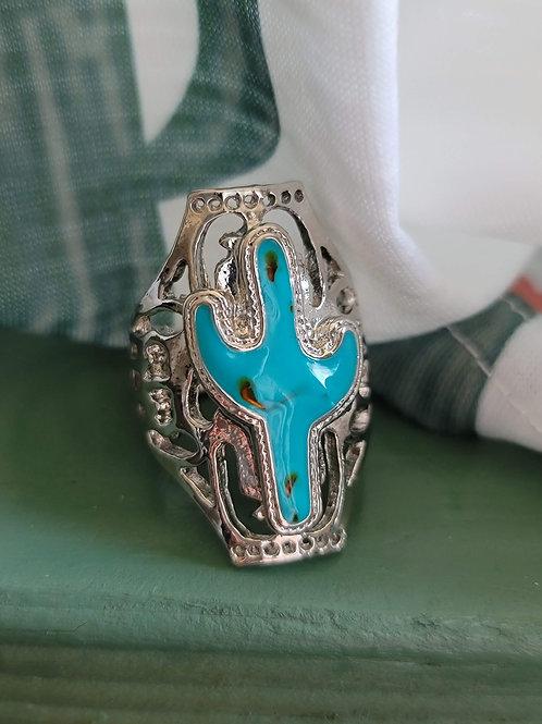 Saguaro Cactus Turquoise Ring