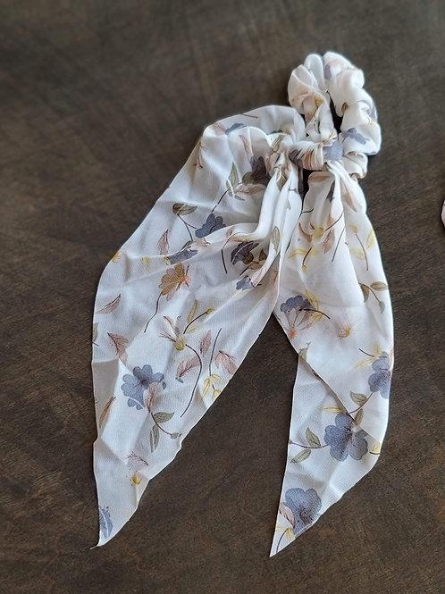 Tan Floral Scrunchies w/Tails