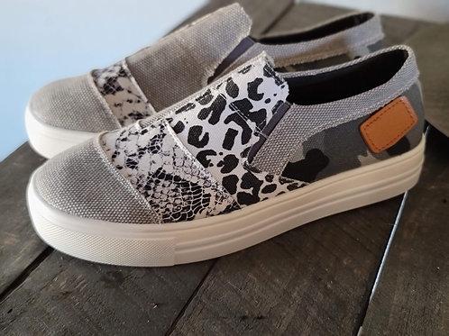 Snake Skin Slip On Shoes