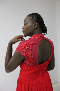 open back red dress