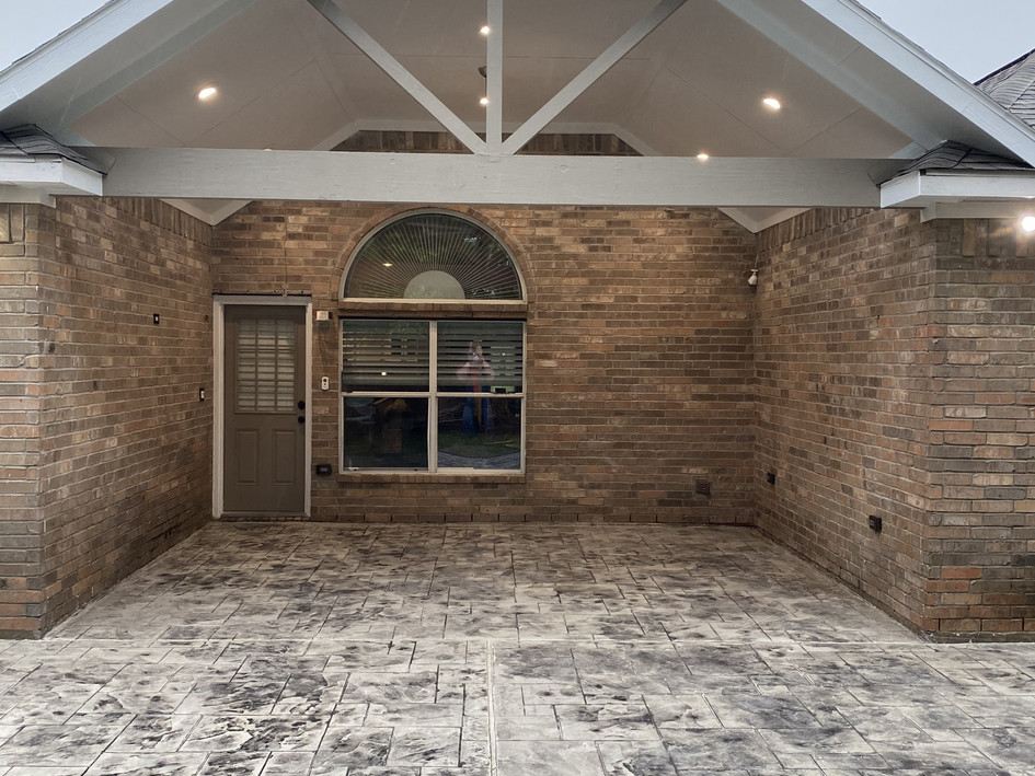 Patio Cover W/ Stamped Concrete