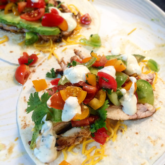 Jerk Chicken Tacos with Lime Sour Cream