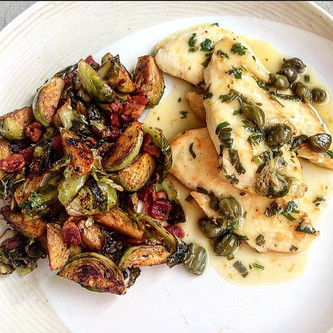 Chicken Piccata and Sautéed Brussels Sprouts with Bacon