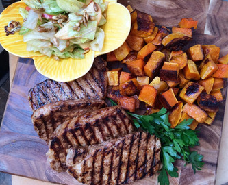 Balsamic Pork Chops with Butternut Squash and Harvest Salad