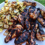 Grilled Jerk Chicken Wings and Spicy Cabbage