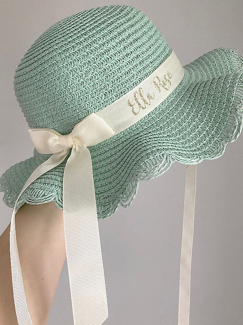 PREORDER - Childs Mint Frilly Summer Hat