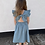 Thumbnail: Embroidered tie back linen dress (floral wreath design)