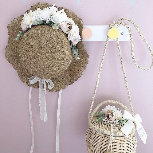 Pretty flower basket with ribbon