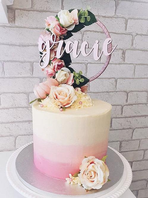 Flower hoop cake topper (6inch size)