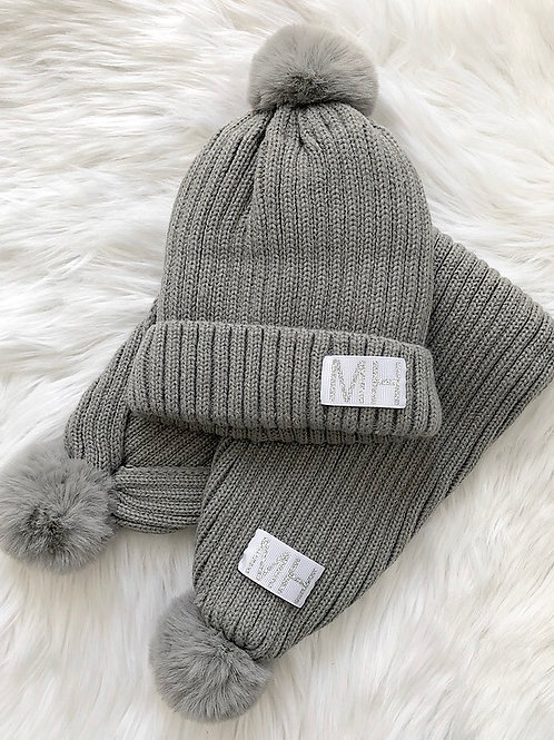 Matching hat & scarf sets - plain ribbon