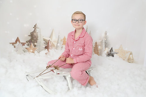 Red gingham cotton family pjs