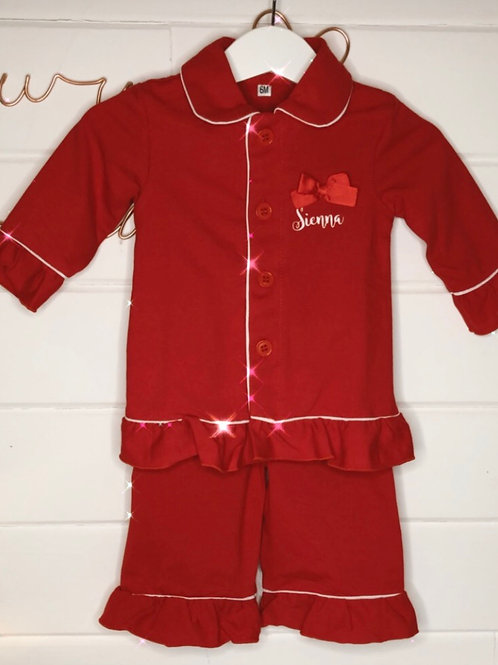 Red ruffle pjs - age 3-6months