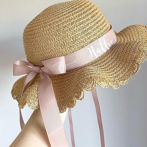 Childs Dark Sand Frilly Summer Hat