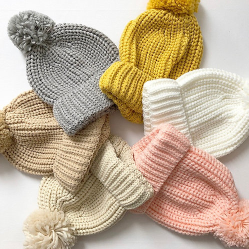 Childs knitted hats - no ribbon