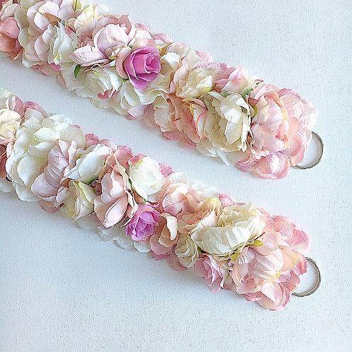 Blush Floral Tie Backs - Slim