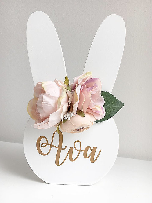 Blush Pink - Personalised Easter bunny with detachable flower crown