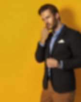 Handsome man on yellow background