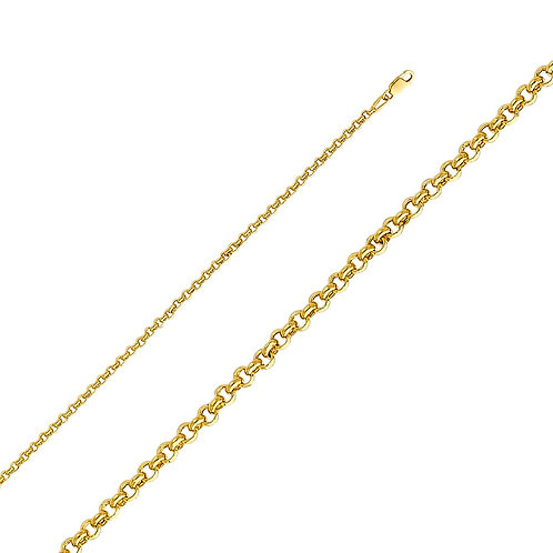 14k Yellow Gold 3-mm Hollow Rolo Chain Necklace