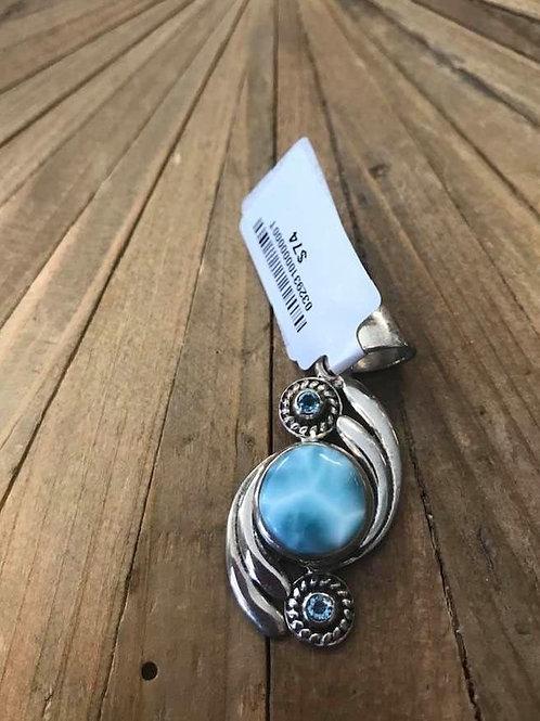 Larimar and Blue Topaz Pendant