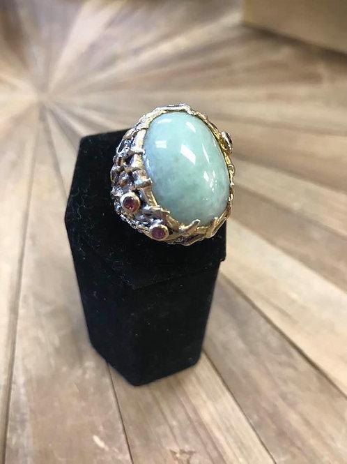 Jade and Garnet Ring