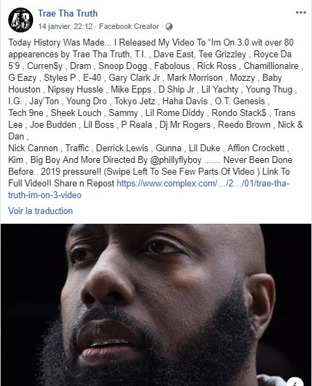 Trae Tha Truth annonce la sortie du clip de I'm on 3.0